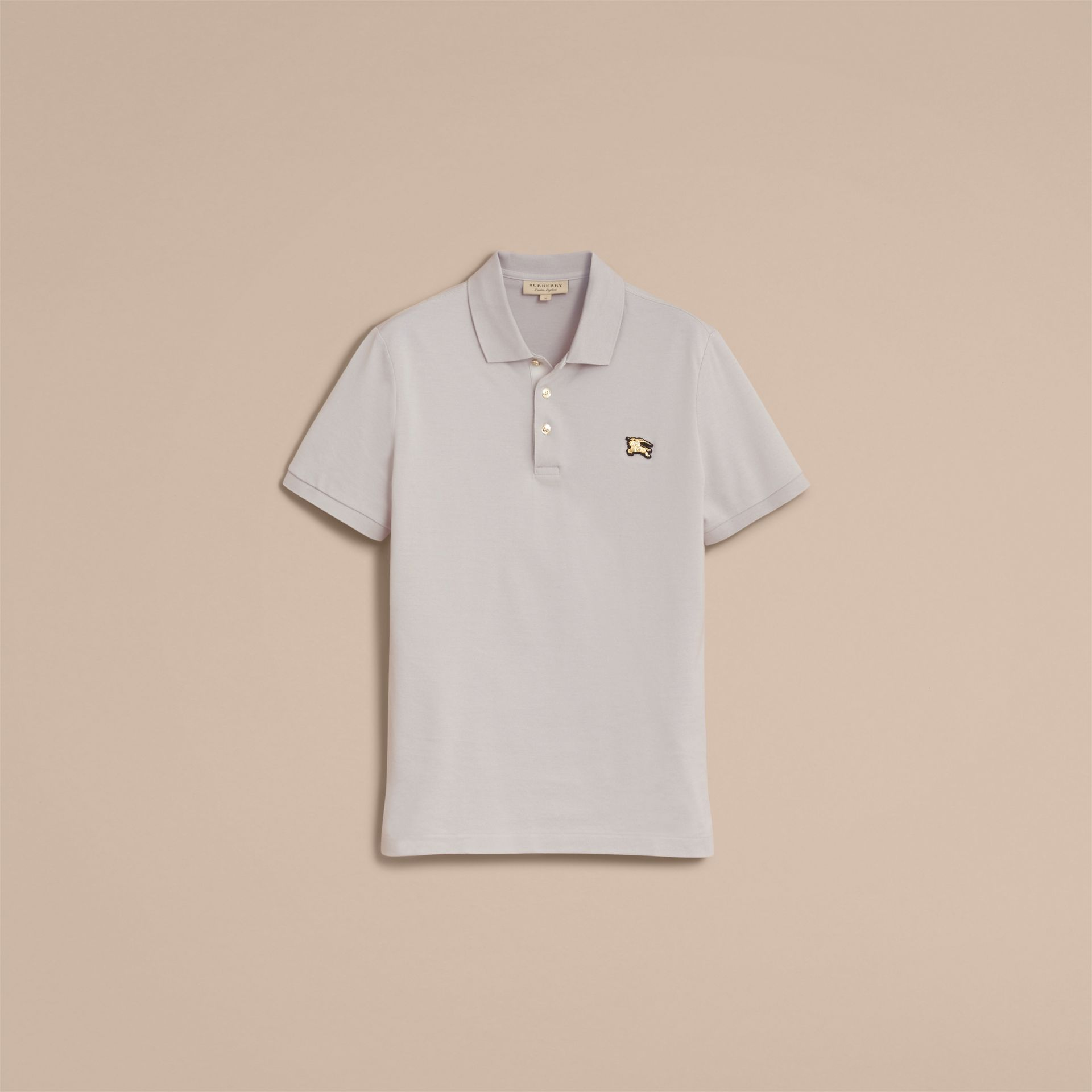 Fitted Mercerised Cotton-Piqué Polo Shirt Pale Stone - gallery image 4