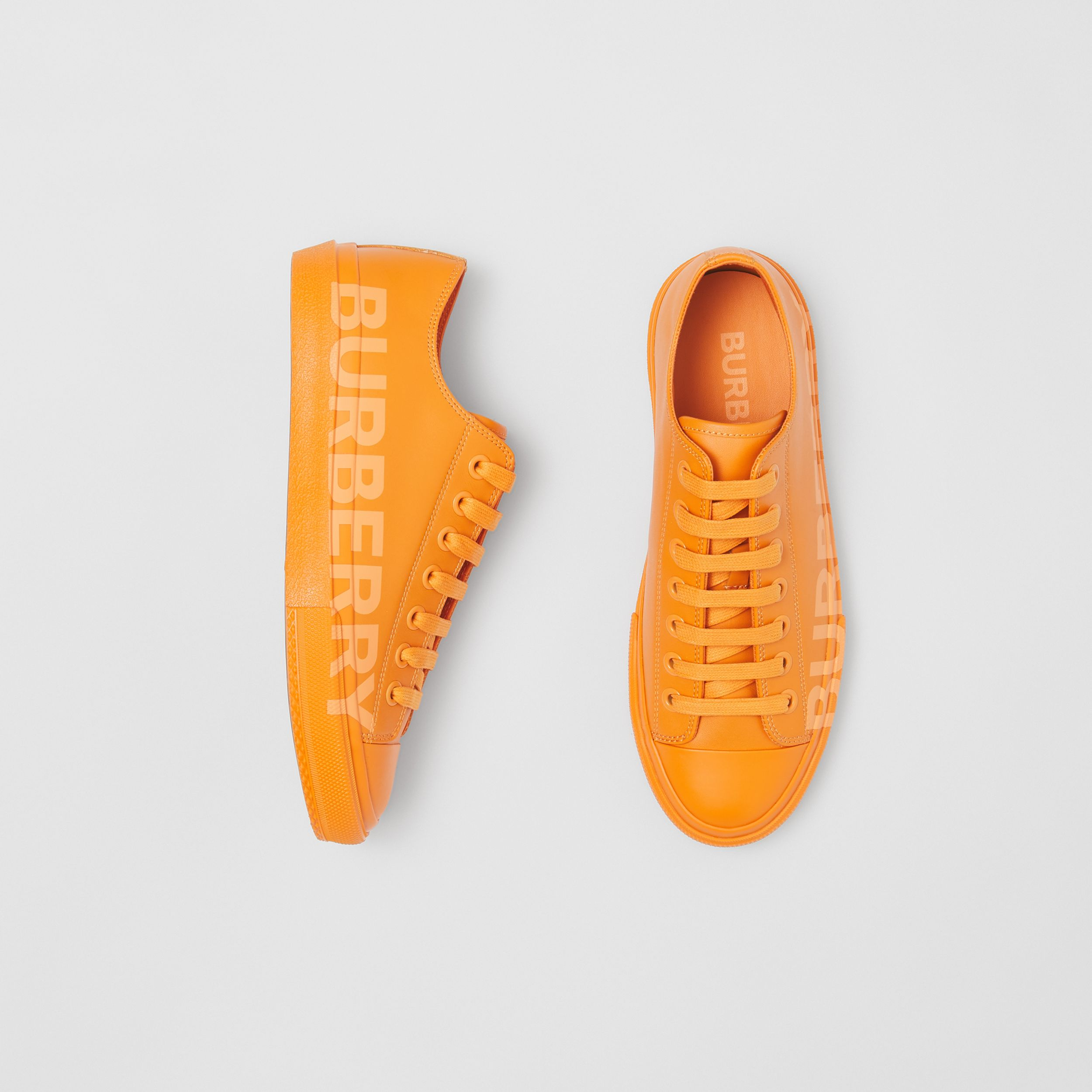 Logo Print Leather Sneakers – Online Exclusive in Deep Orange - Women | Burberry - 1