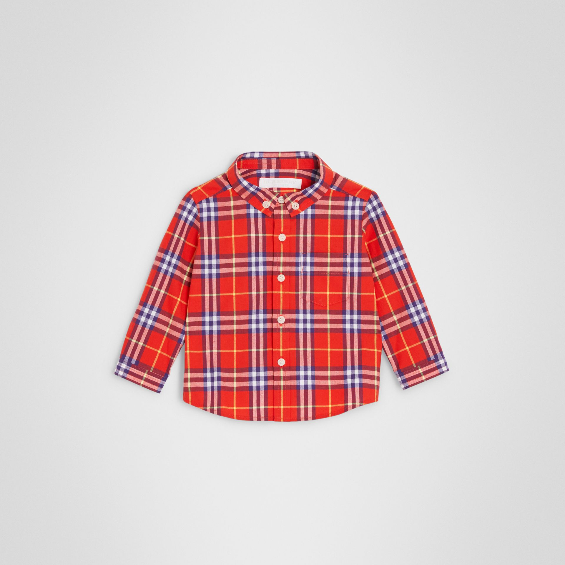 Button-down Collar Check Cotton Shirt in Orange Red - Children | Burberry - gallery image 0
