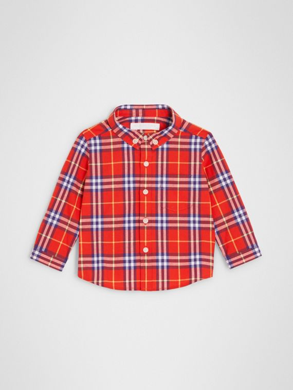 Button-down Collar Check Cotton Shirt in Orange Red