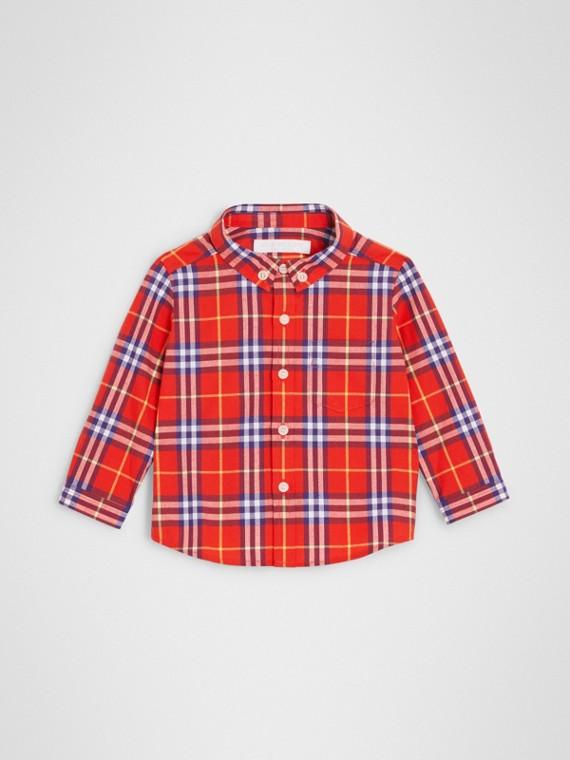 Baumwollhemd mit Karomuster und Button-down-Kragen (Orangerot)