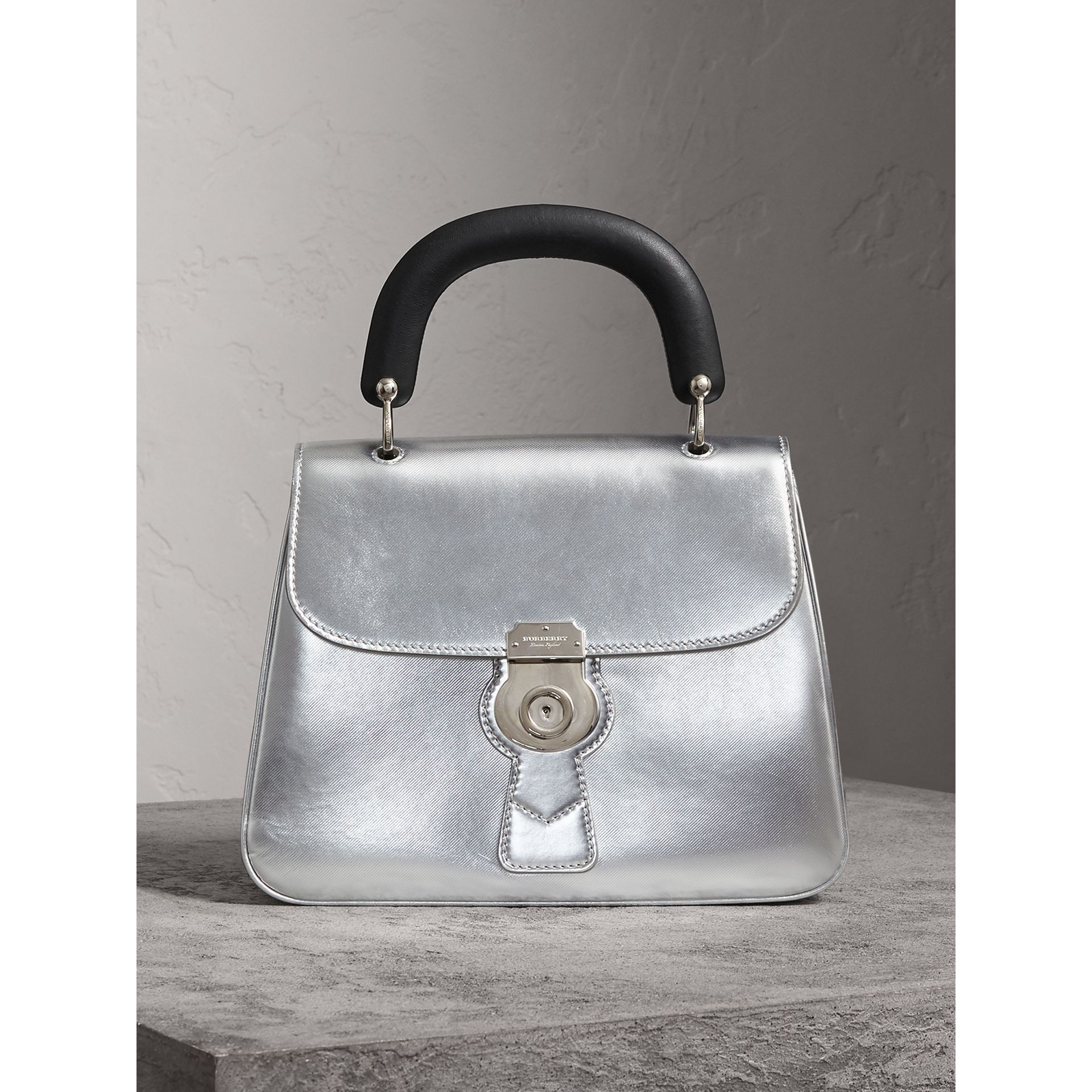 The Medium DK88 Top Handle Bag in Metallic Leather in Silver - Women | Burberry United Kingdom - gallery image 1