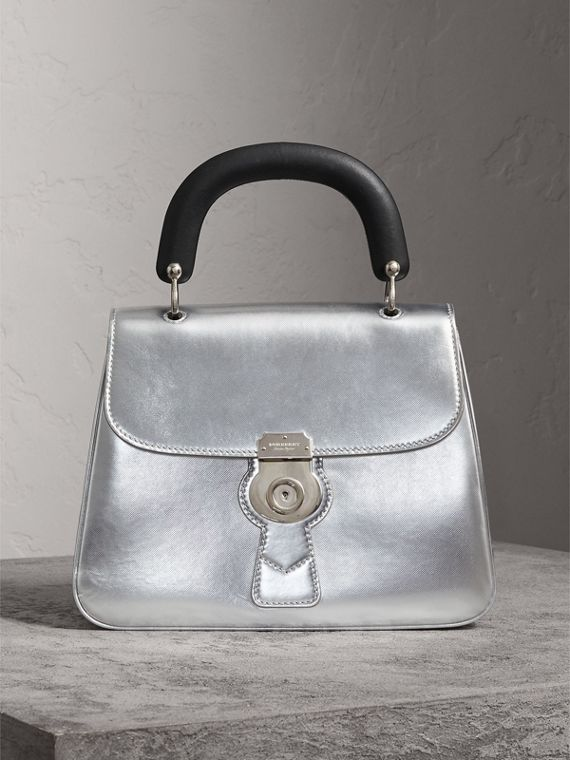 The Medium DK88 Top Handle Bag in Metallic Leather in Silver