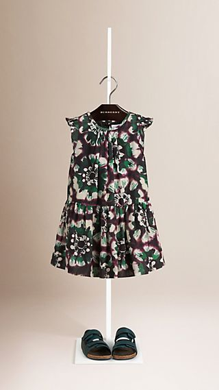 Floral Print Drop Waist Cotton Silk Dress
