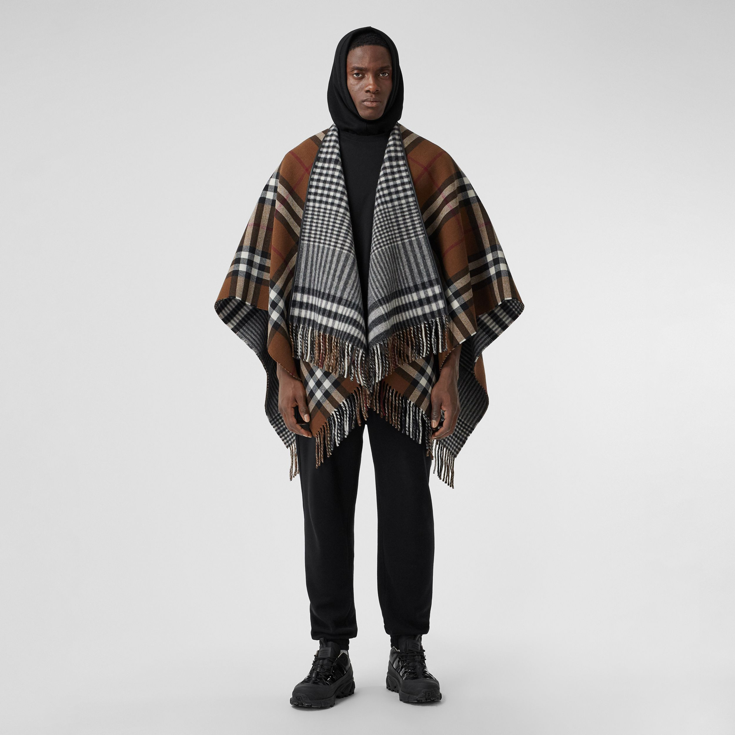 Reversible Lambskin Trim Check Wool Cape in Birch Brown | Burberry - 1