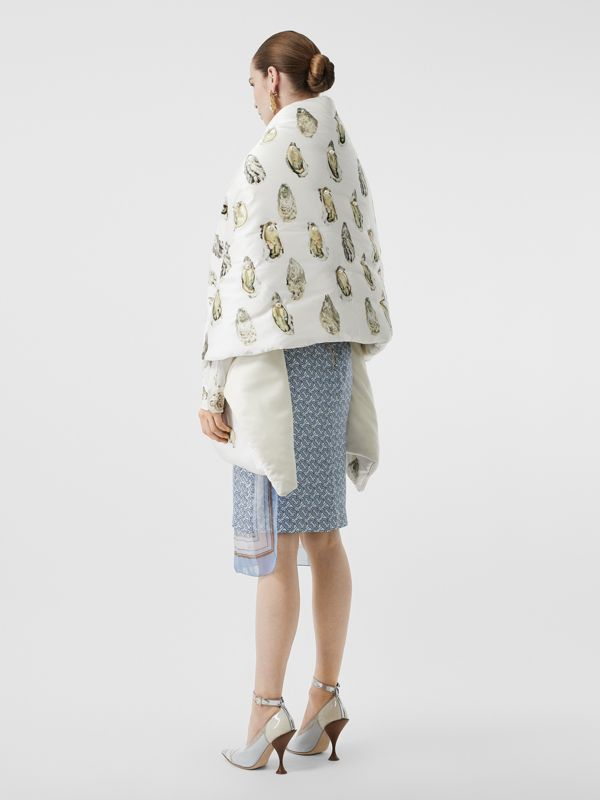 Oyster Print Puffer Scarf in Natural White - Women | Burberry - cell image 2