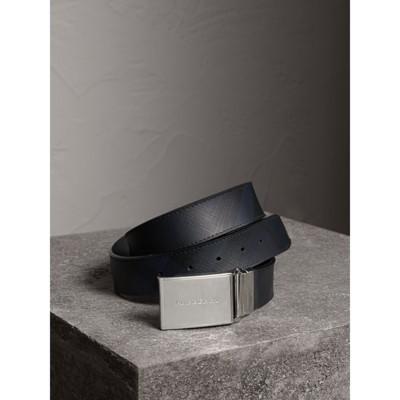 Burberry - Ceinture réversible à motif Smoked check avec cuir - 1