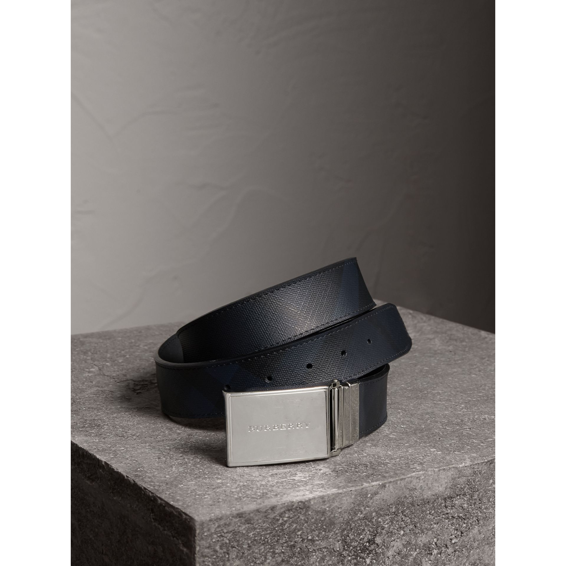 Reversible London Check and Leather Belt in Navy/black - Men | Burberry Australia - gallery image 1