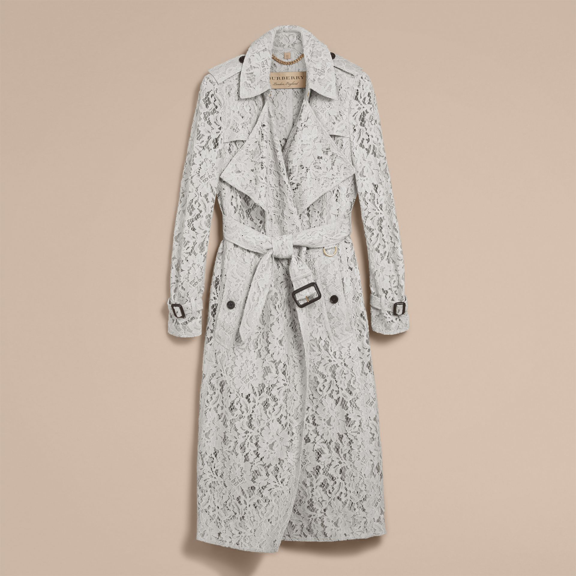 Macramé Lace Trench Coat Pale Grey - gallery image 4