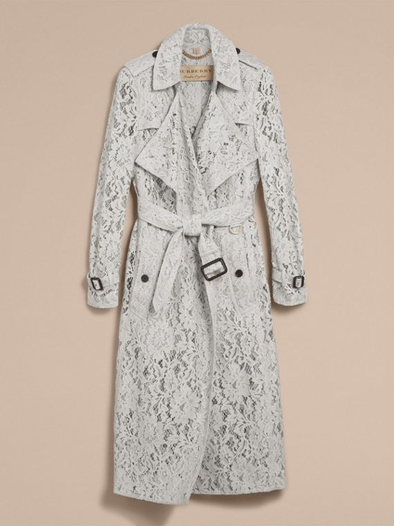 Macramé Lace Trench Coat Pale Grey - cell image 3