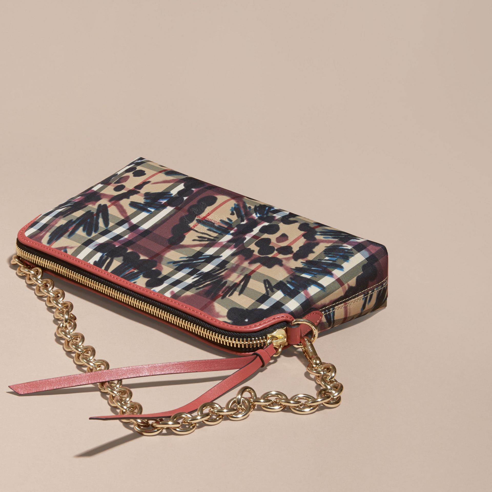 Mauve pink/antique rose Tie-dye Print Horseferry Check and Leather Clutch Bag Mauve Pink/antique Rose - gallery image 5