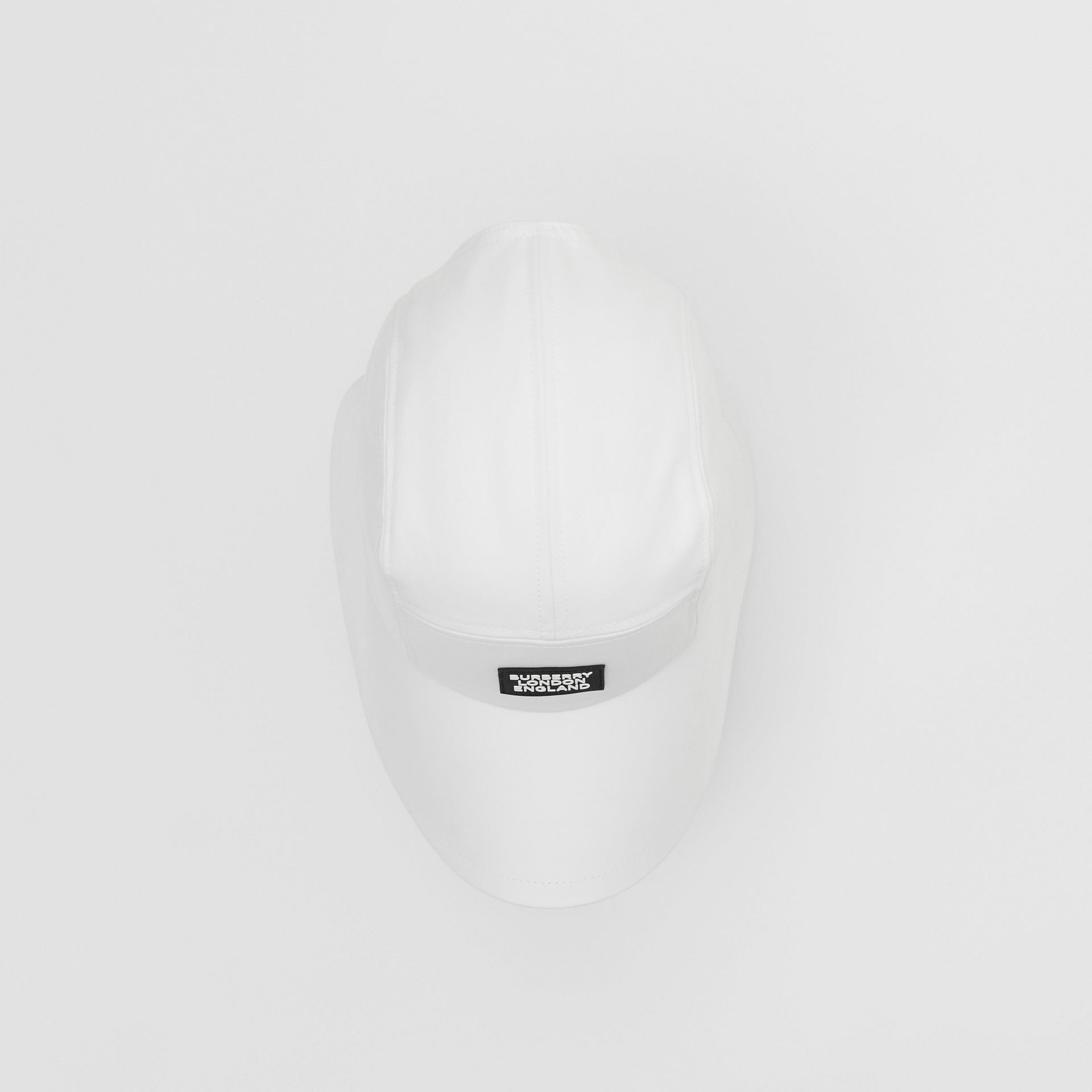 Logo Appliqué Cotton Bonnet Cap in Optic White | Burberry United States - gallery image 3