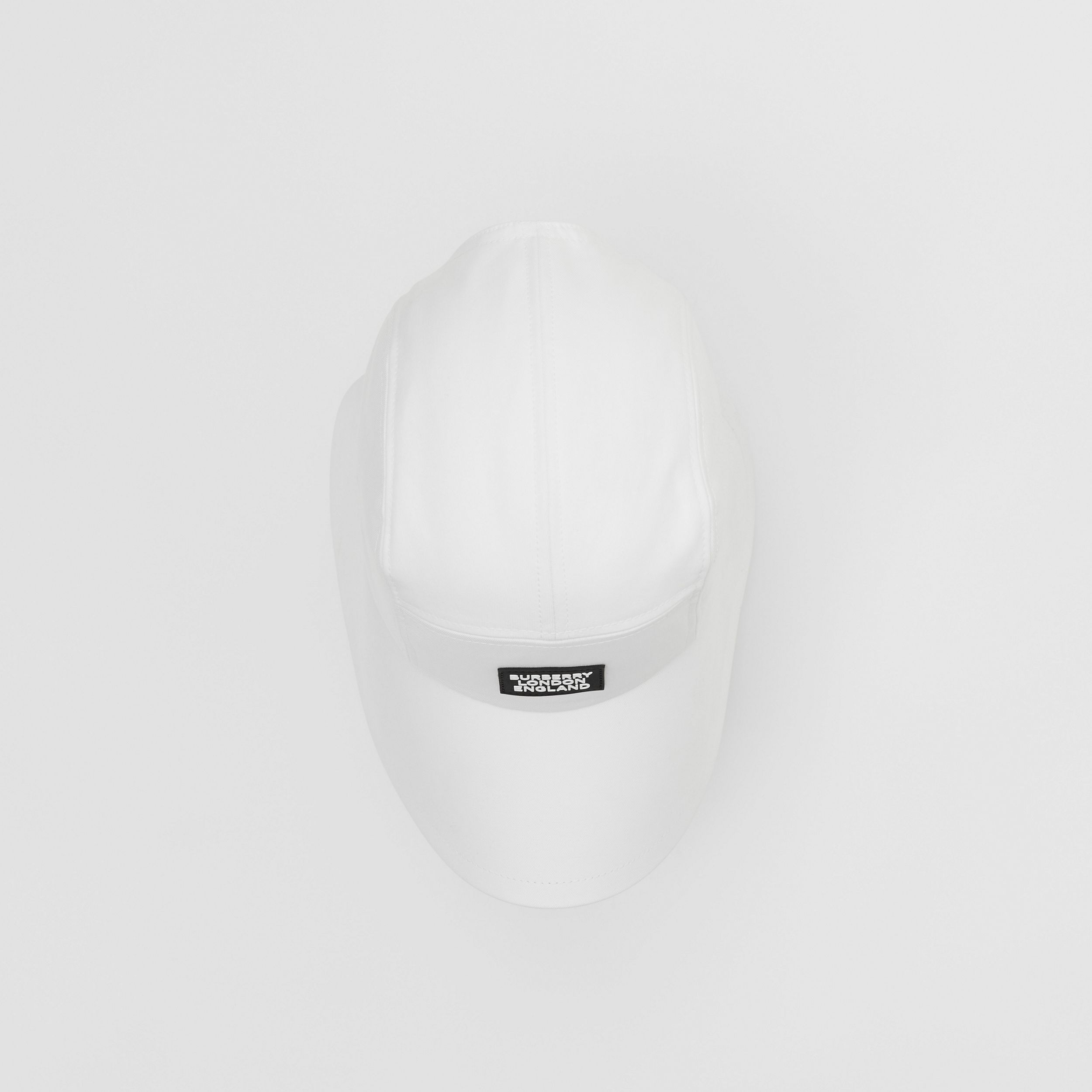 Logo Appliqué Cotton Bonnet Cap in Optic White | Burberry Singapore - 4