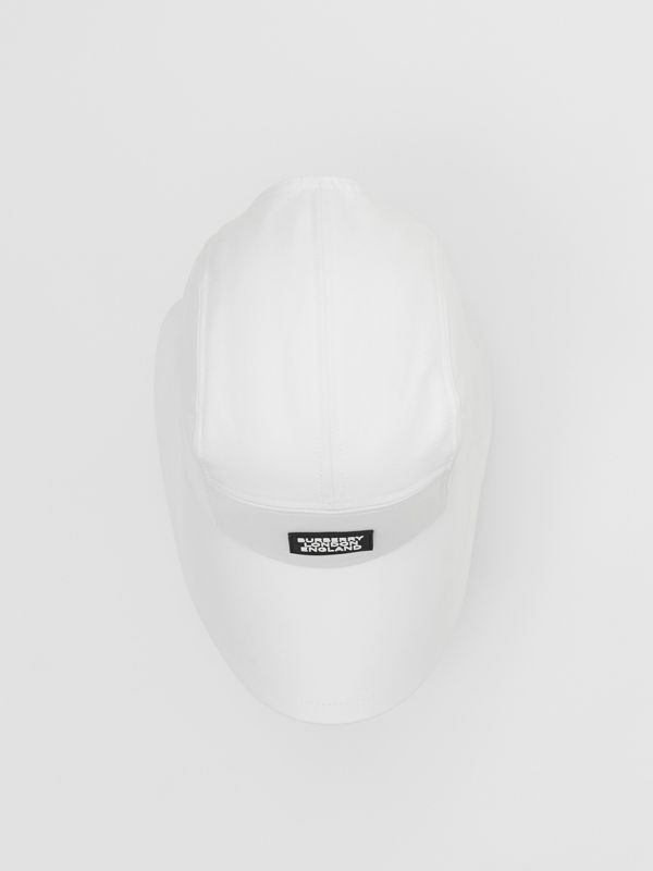 Logo Appliqué Cotton Bonnet Cap in Optic White | Burberry United States - cell image 3