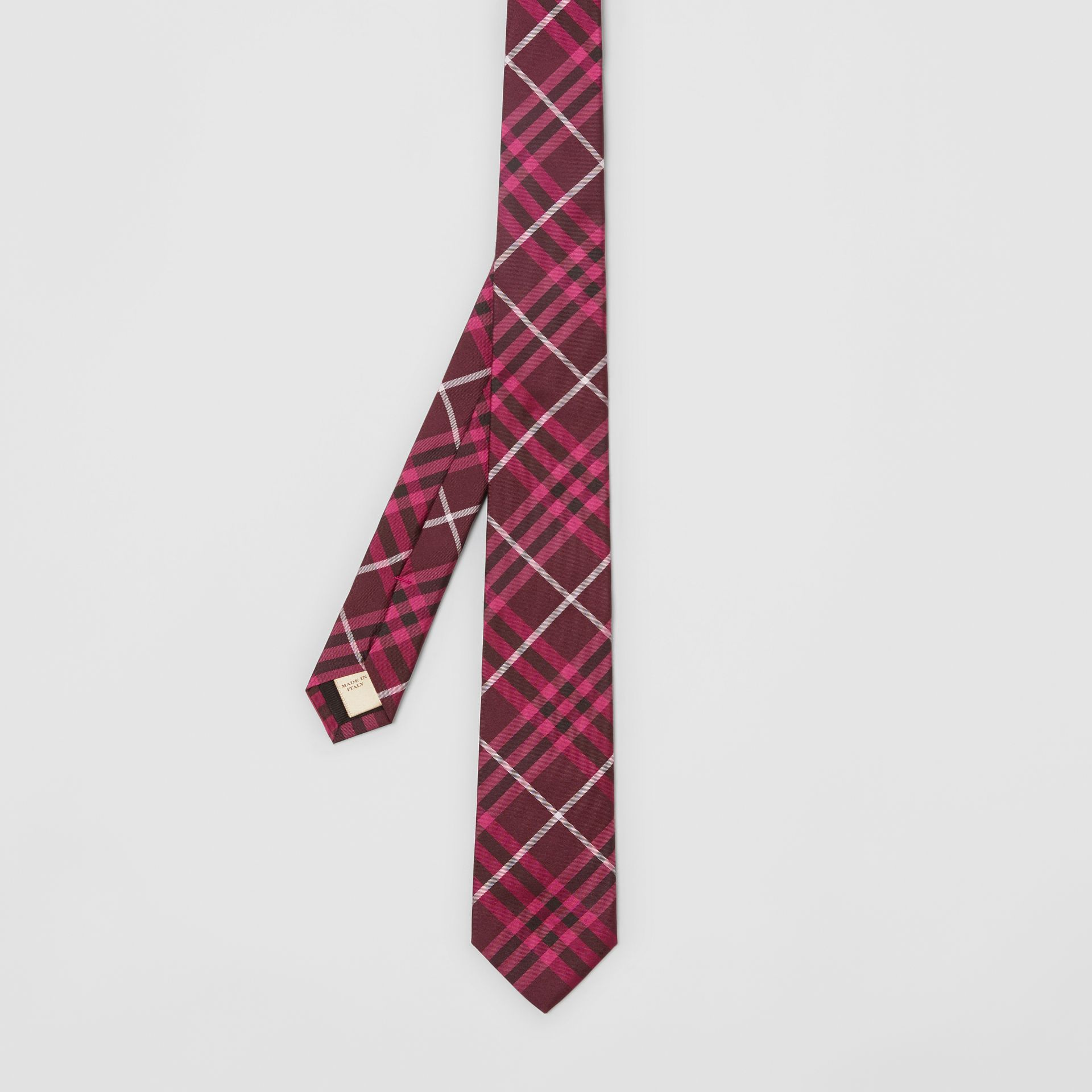 Slim Cut Check Silk Tie in Dark Elderberry - Men | Burberry - gallery image 3
