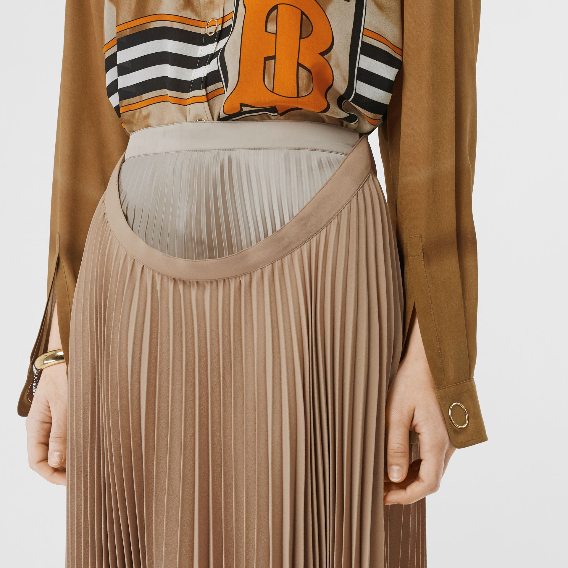 Pleated Double-waist Skirt in Sandbank - Women | Burberry Australia - gallery image 5