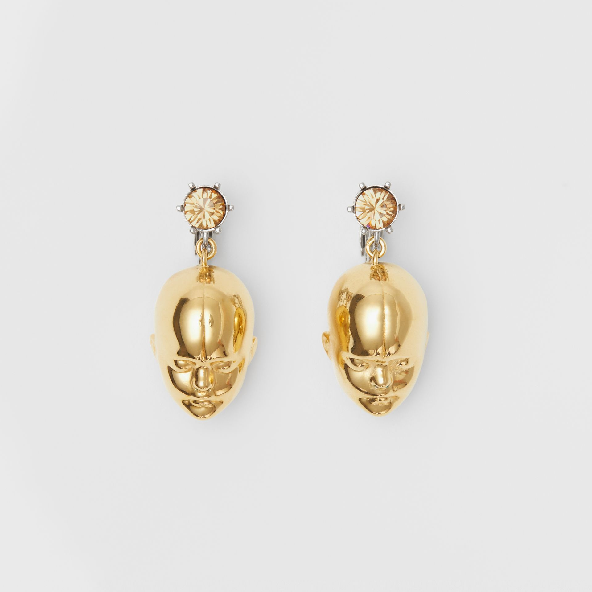 Crystal and Doll's Head Gold-plated Drop Earrings in Light Colorado/light - Women | Burberry Hong Kong - gallery image 0
