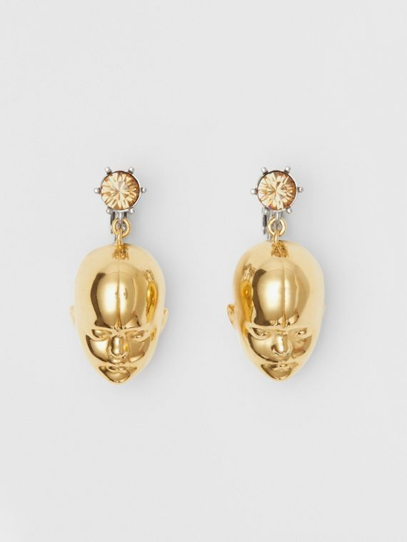 Crystal and Doll's Head Gold-plated Drop Earrings in Light Colorado/light