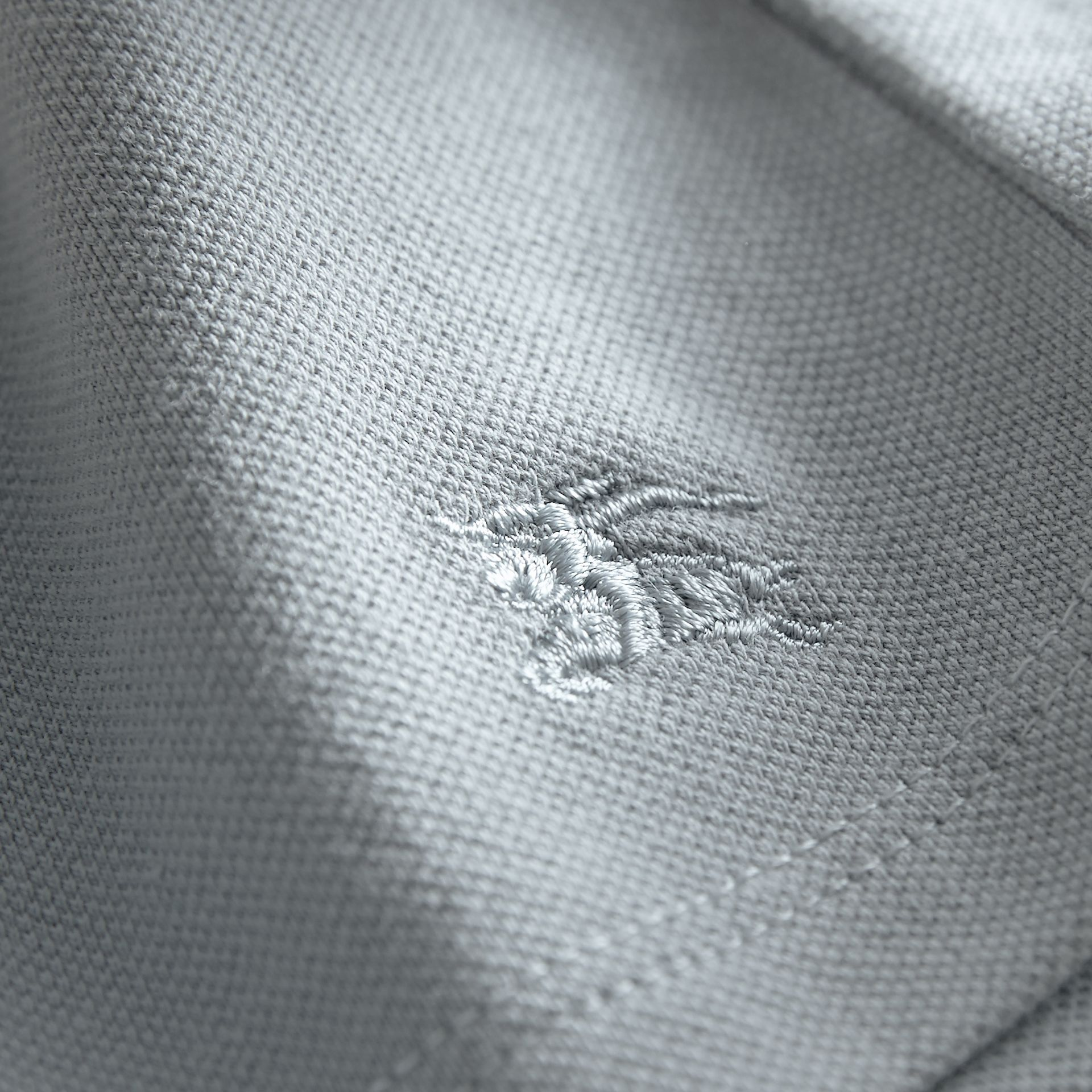 Peter Pan Collar Cotton Piqué Polo Shirt in Pale Slate Blue - Girl | Burberry - gallery image 1