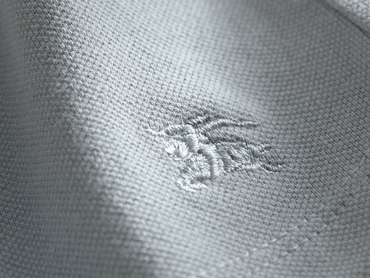 Peter Pan Collar Cotton Piqué Polo Shirt in Pale Slate Blue - Girl | Burberry - cell image 1