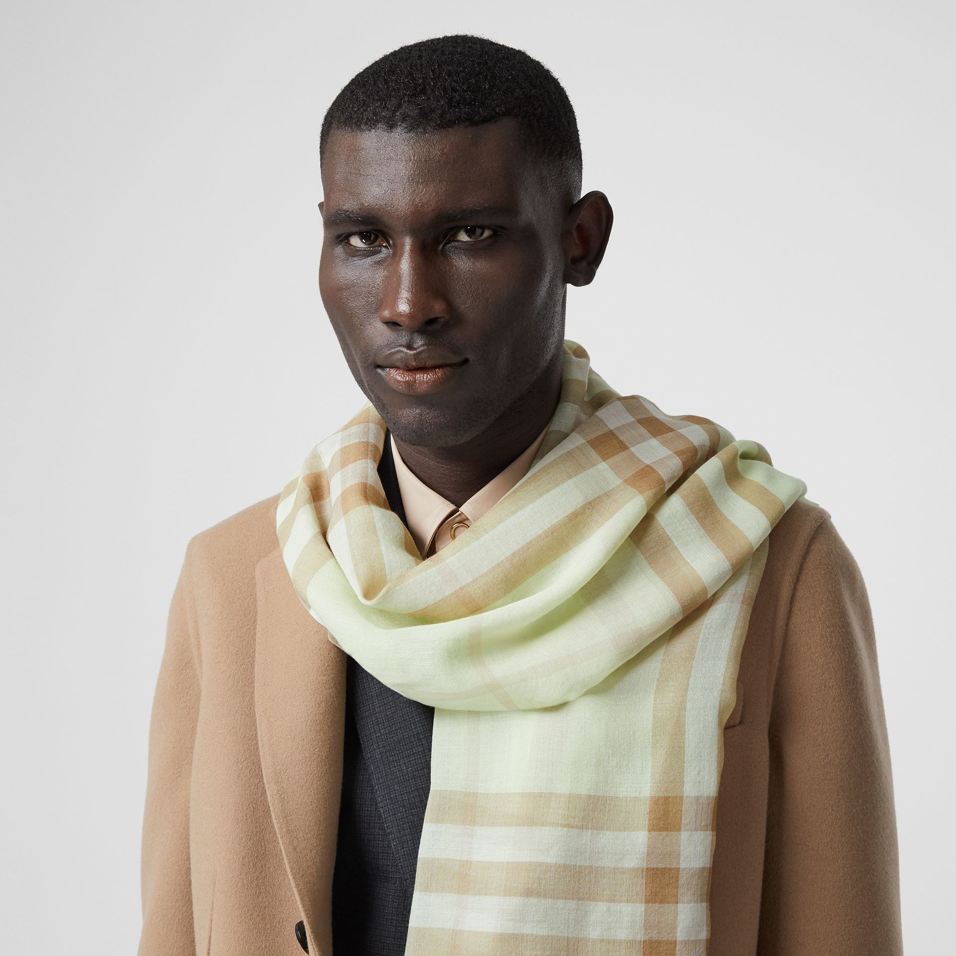 Lightweight Check Wool Silk Scarf in Pistachio | Burberry - gallery image 3