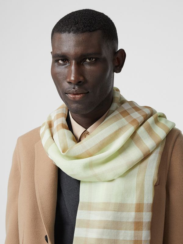 Lightweight Check Wool Silk Scarf in Pistachio | Burberry - cell image 3