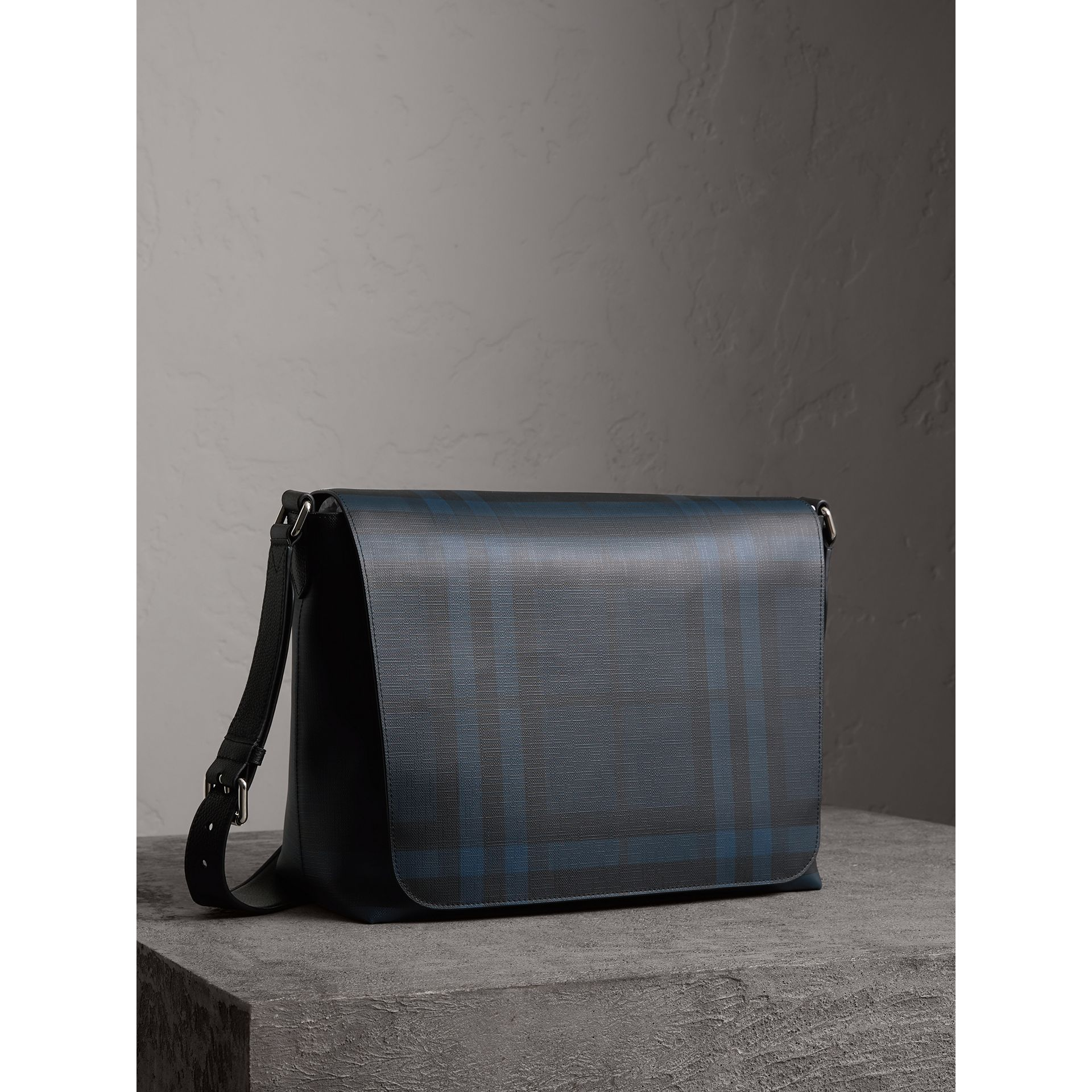 Large London Check Messenger Bag in Navy/black | Burberry - gallery image 5