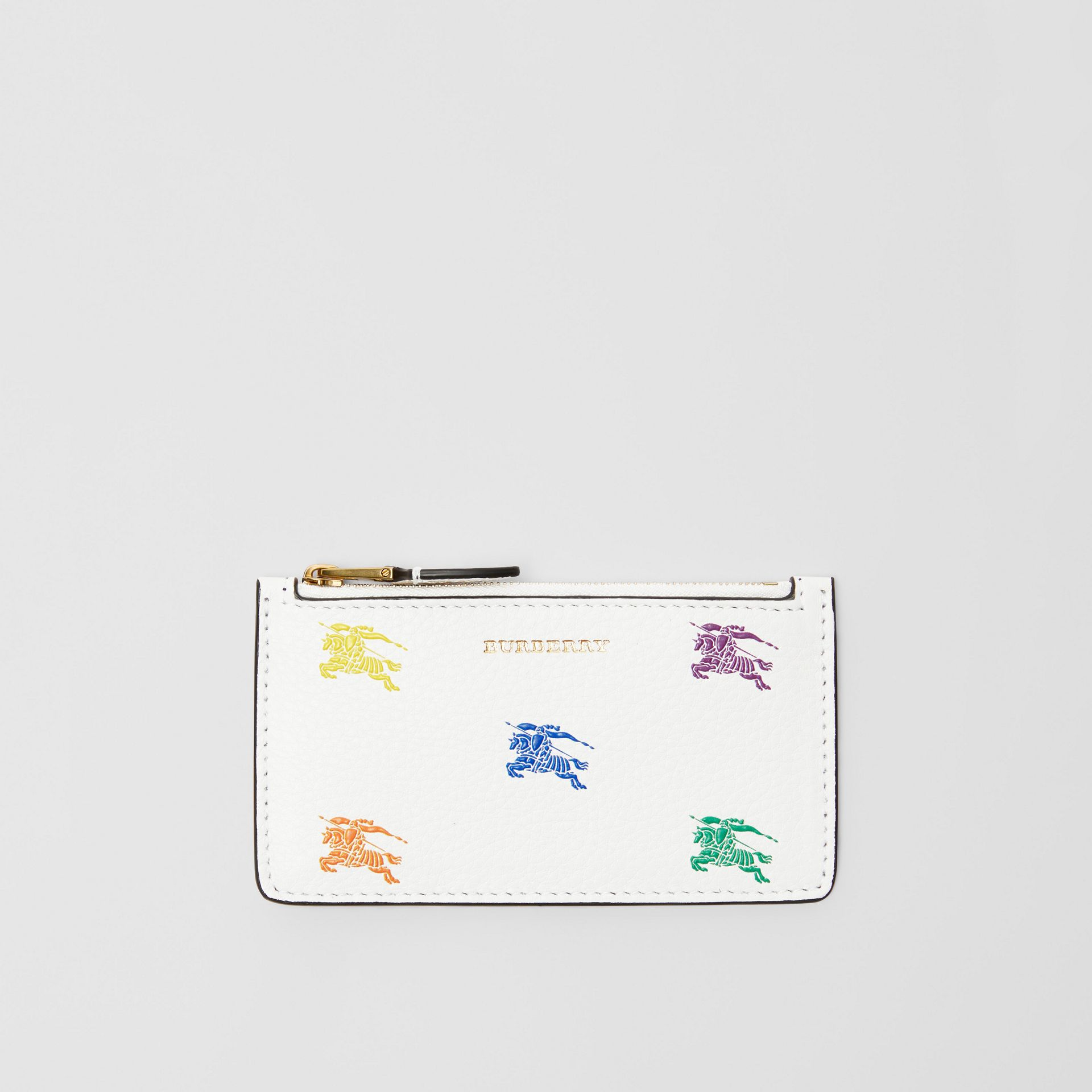 Equestrian Knight Leather Zip Card Case in Chalk White - Women | Burberry - gallery image 0