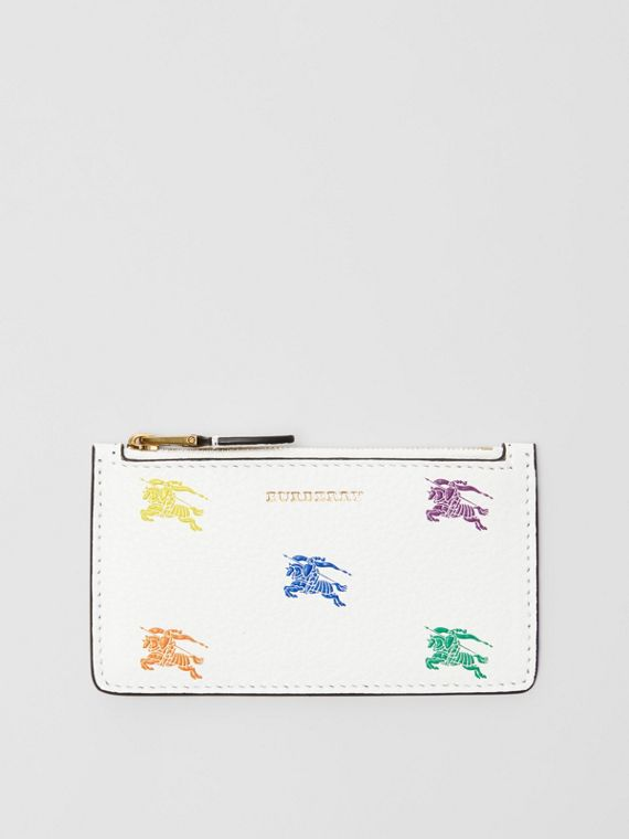 Equestrian Knight Leather Zip Card Case in Chalk White