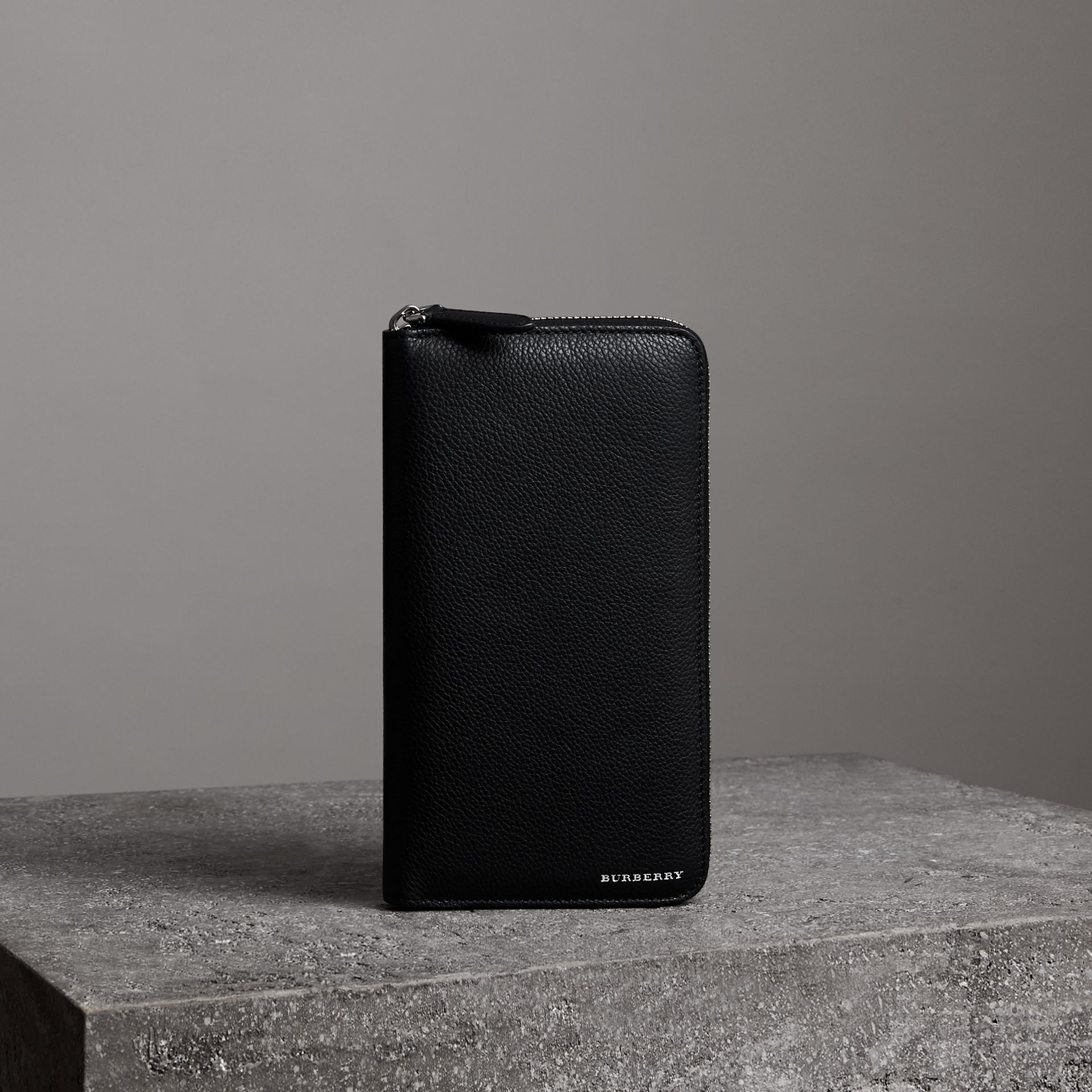 Grainy Leather Ziparound Wallet in Black - Men   Burberry - gallery image 0