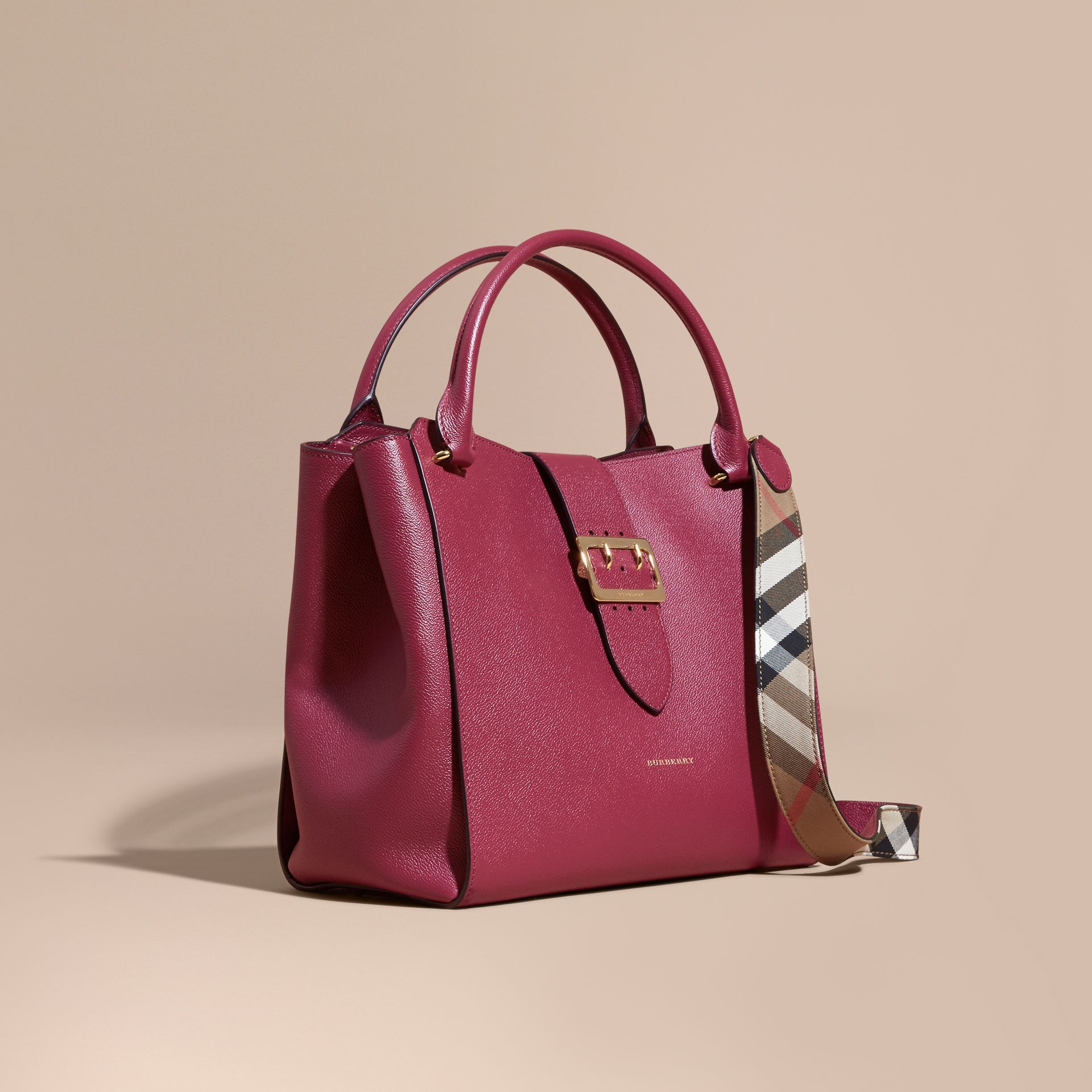 The Large Buckle Tote in Grainy Leather in Dark Plum - Women | Burberry - gallery image 1