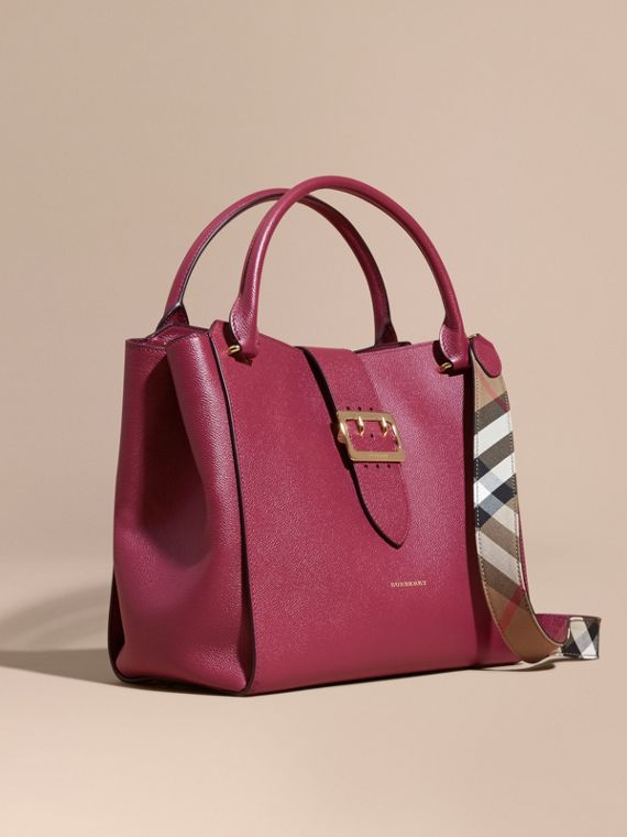 The Large Buckle Tote in Grainy Leather in Dark Plum