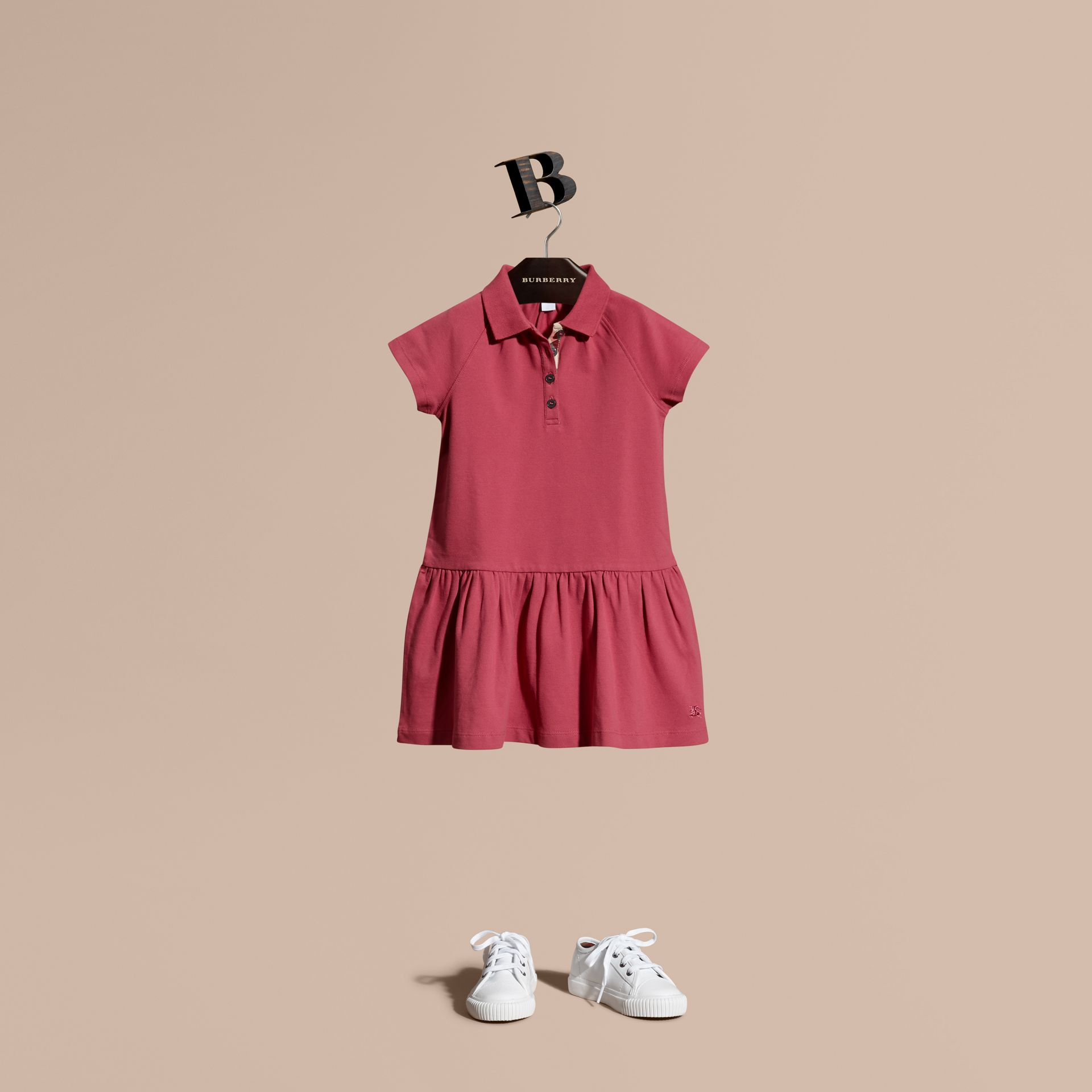 Peony rose Check Placket Cotton Blend T-Shirt Dress Peony Rose - gallery image 1