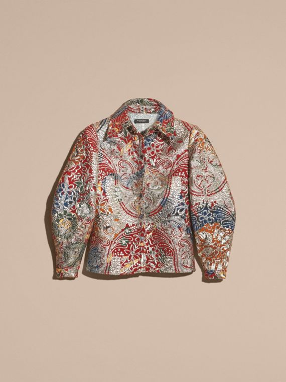 Russet brown Metallic Floral Jacquard Sculptured Sleeve Shirt - cell image 3