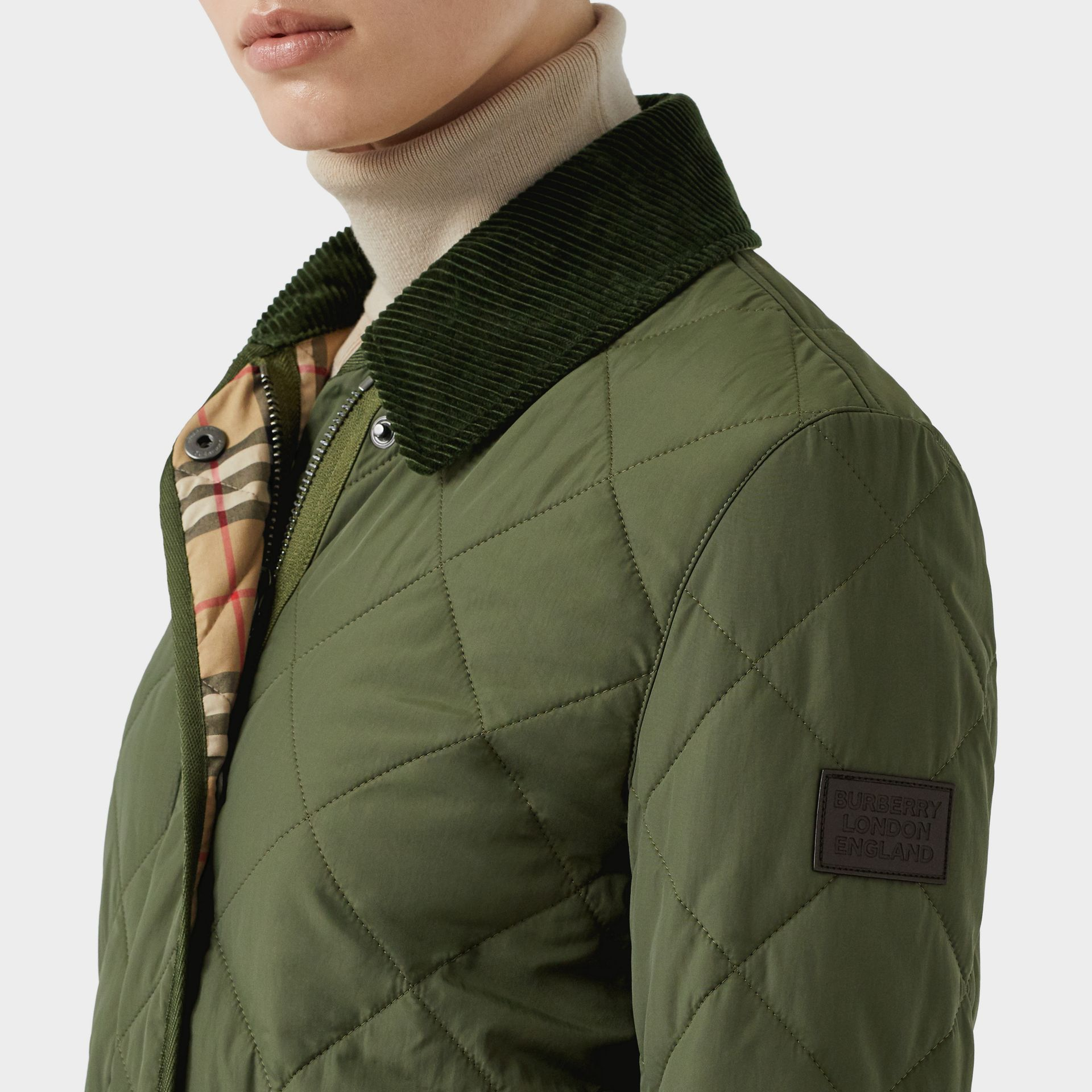 Diamond Quilted Thermoregulated Barn Jacket in Poplar Green - Women | Burberry - gallery image 1