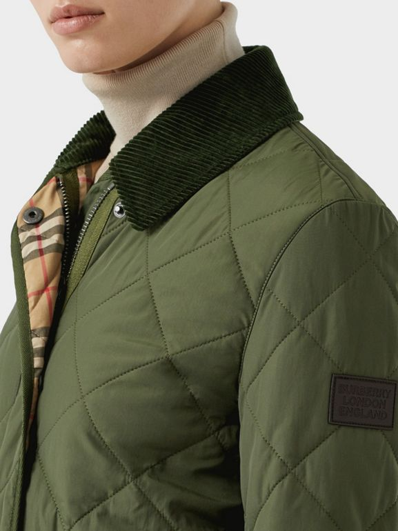 Diamond Quilted Thermoregulated Barn Jacket in Poplar Green - Women | Burberry - cell image 1