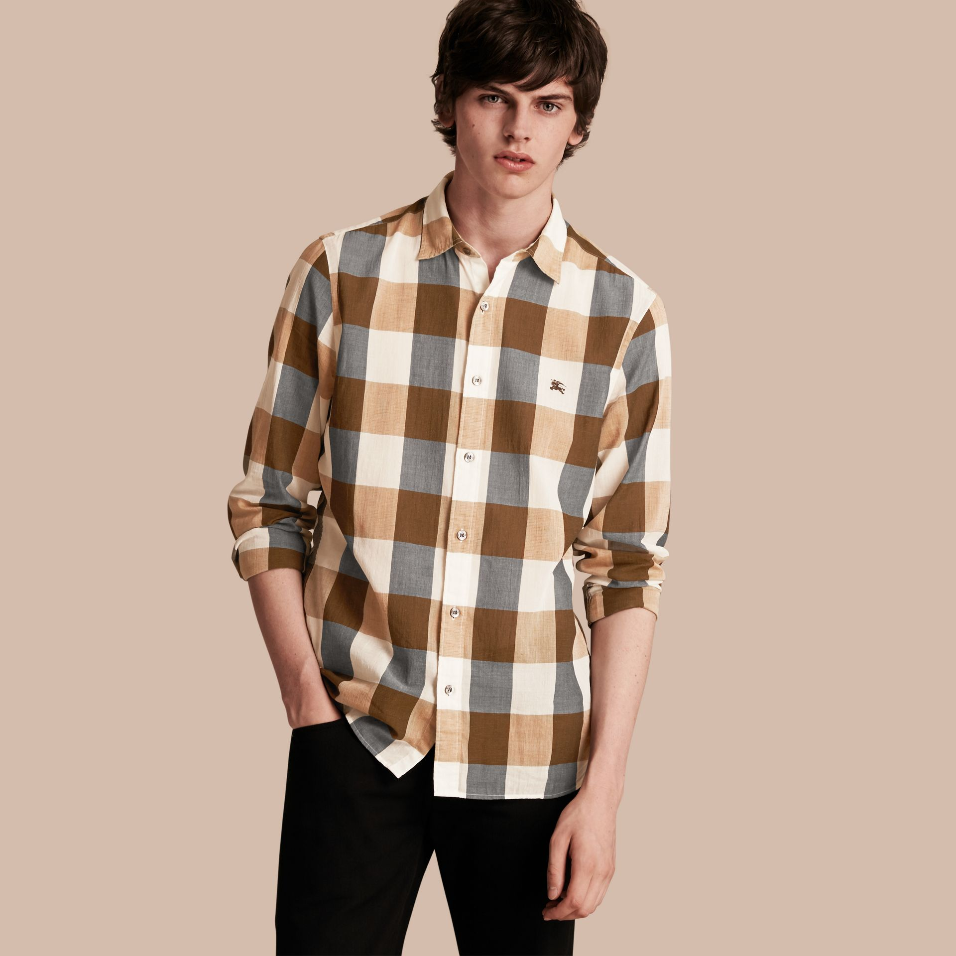 Oversize Gingham Cotton Linen Shirt Camel - gallery image 1