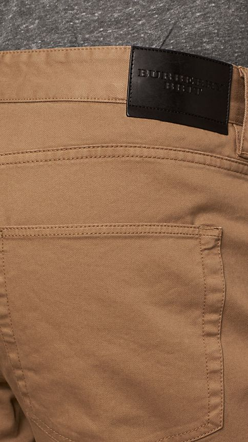 Seed brown Straight Fit Stretch-Cotton Trousers - Image 4