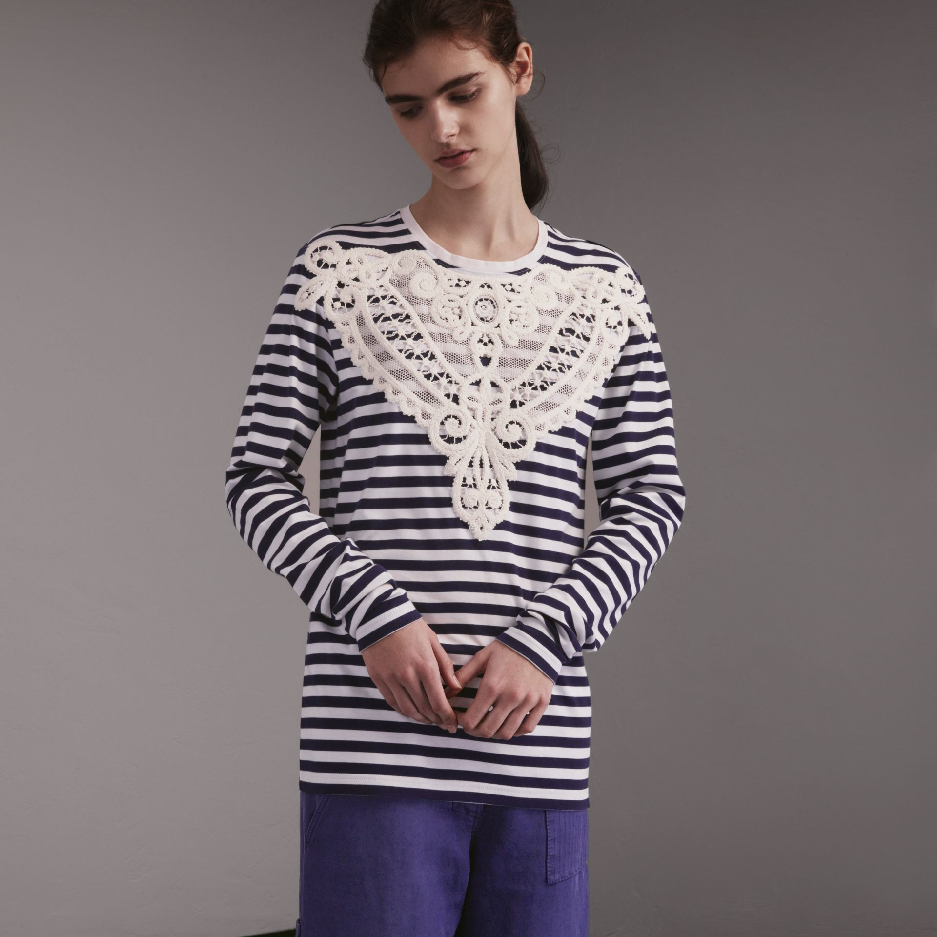 Unisex Lace Appliqué Breton Stripe Cotton Top in Indigo - Women | Burberry - gallery image 0