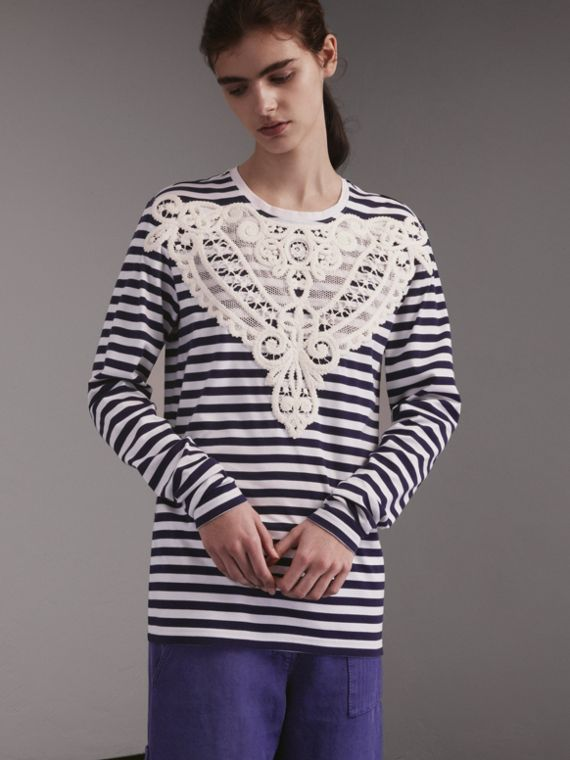Unisex Lace Appliqué Breton Stripe Cotton Top in Indigo