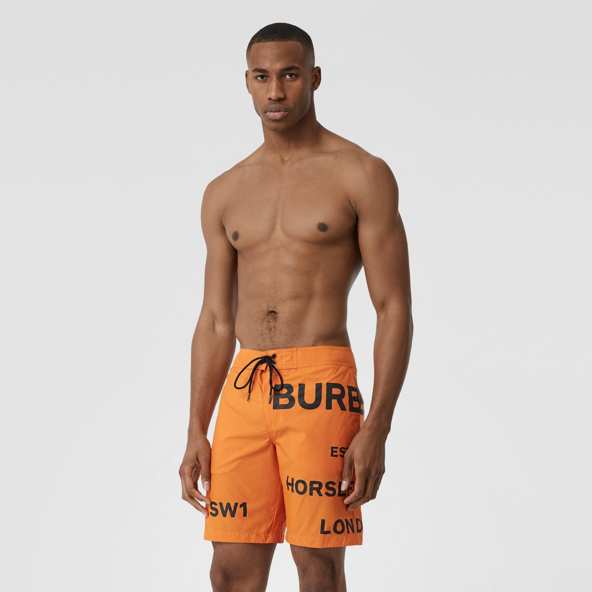 Horseferry Print Swim Shorts in Bright Orange - Men | Burberry United Kingdom - gallery image 0