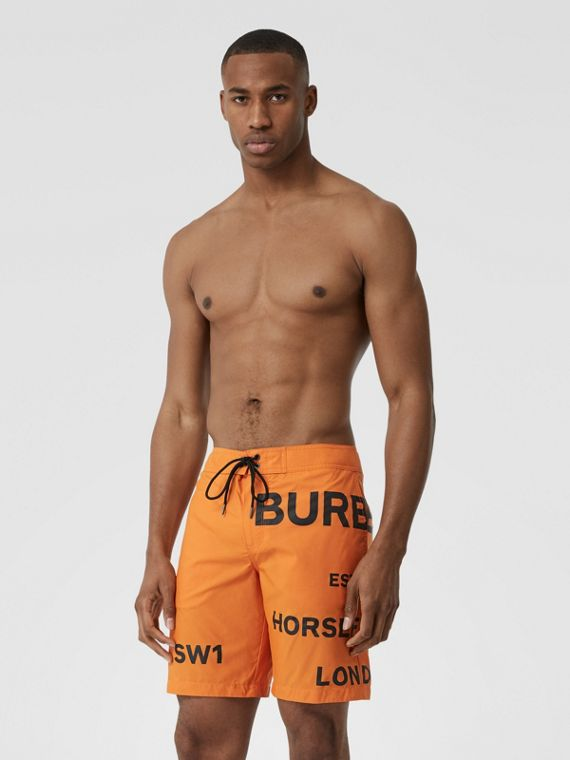 Horseferry Print Swim Shorts in Bright Orange