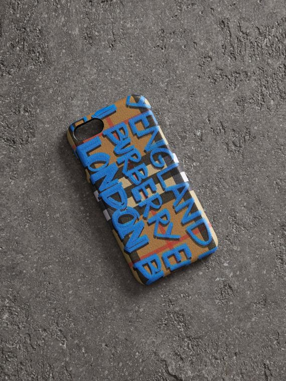 Graffiti Print Vintage Check Leather iPhone 8 Case in Canvas Blue/antique Yellow