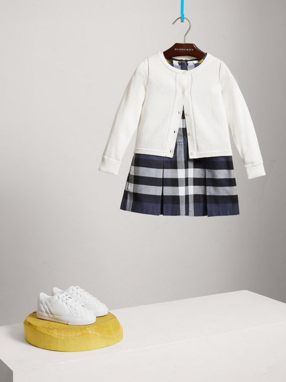 Check Cuff Cotton Knit Cardigan in White - Girl | Burberry United Kingdom - cell image 2