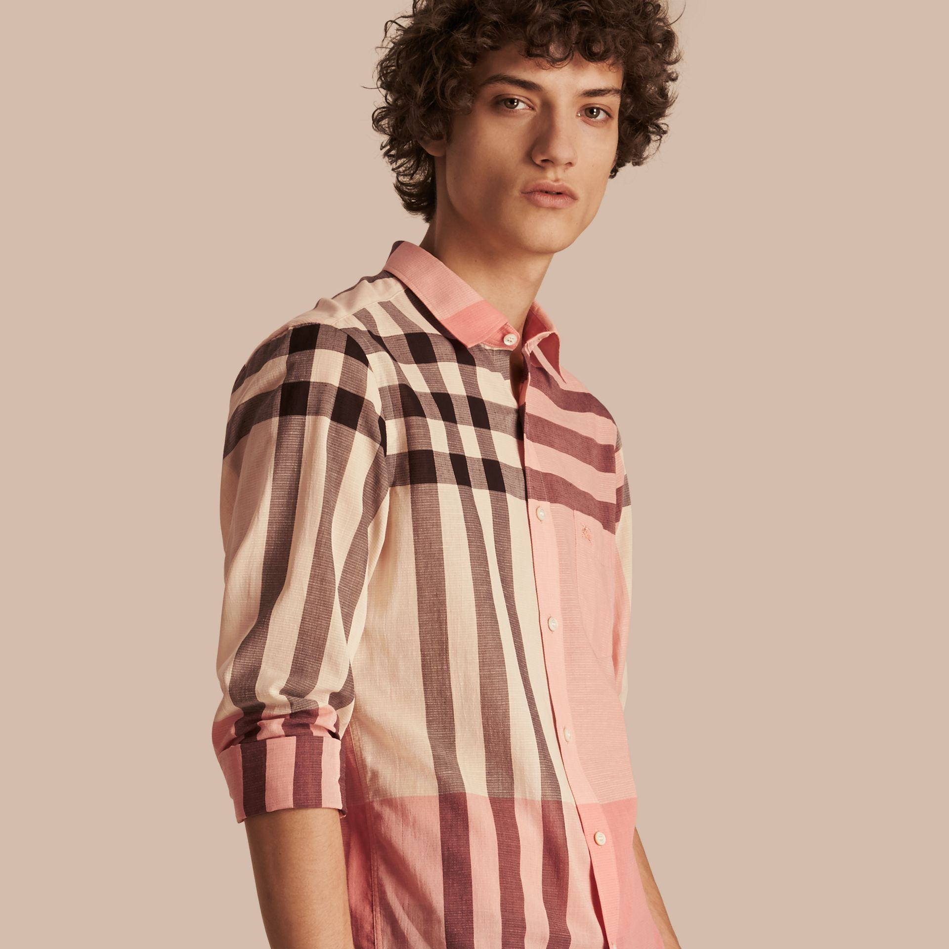 Check Cotton Poplin and Linen Shirt in Rose Pink - gallery image 1