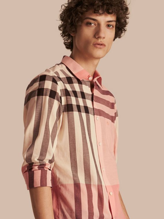 Check Cotton Poplin and Linen Shirt Rose Pink