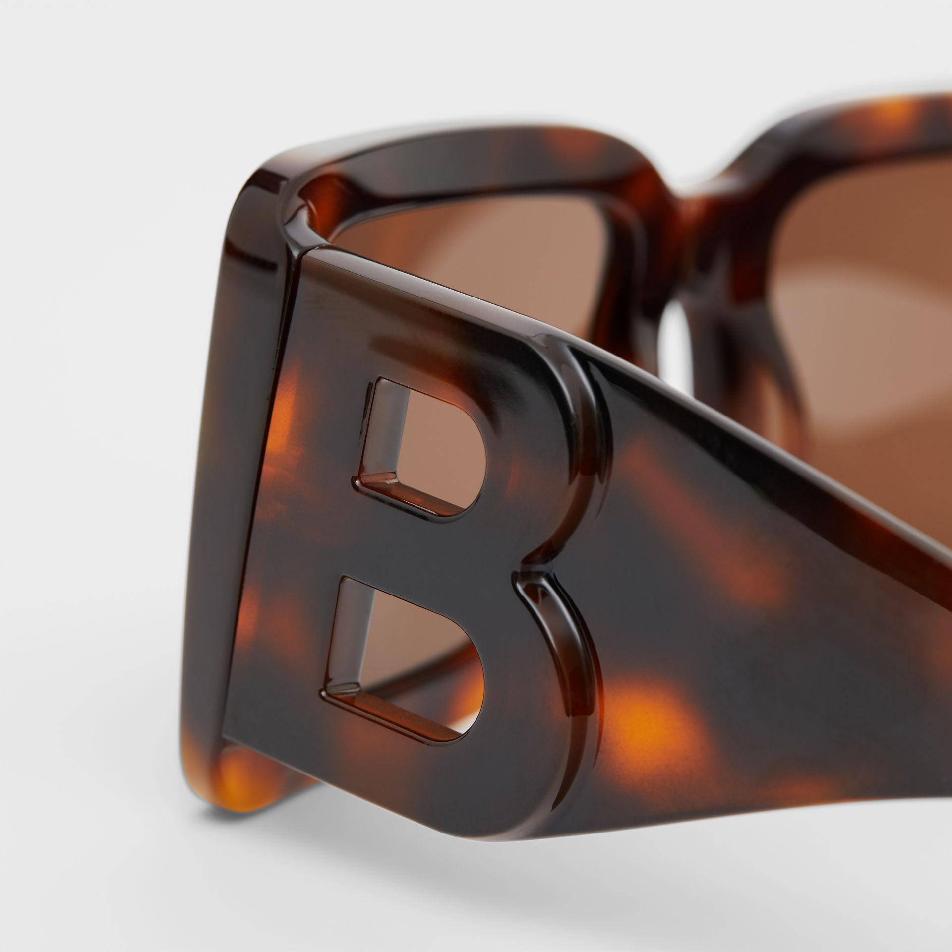 B Motif Square Frame Sunglasses in Tortoise Amber | Burberry United Kingdom - gallery image 1