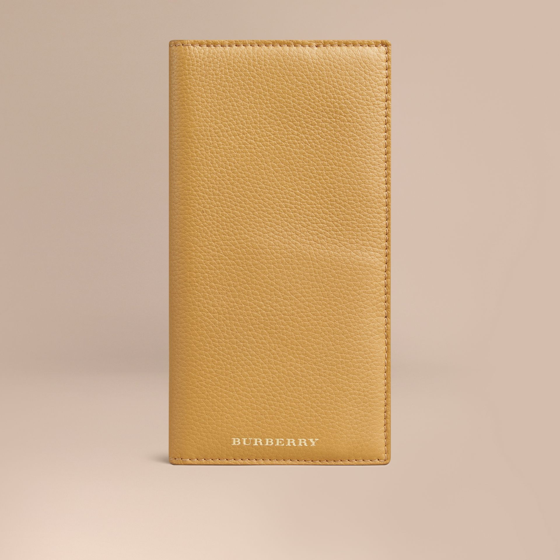 Grainy Leather Travel Card Case Ochre Yellow - gallery image 1