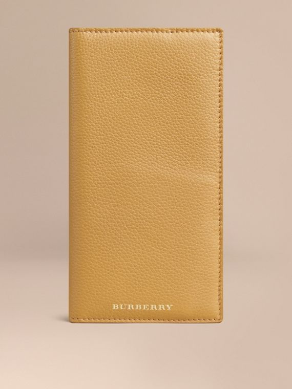 Grainy Leather Travel Card Case in Ochre Yellow
