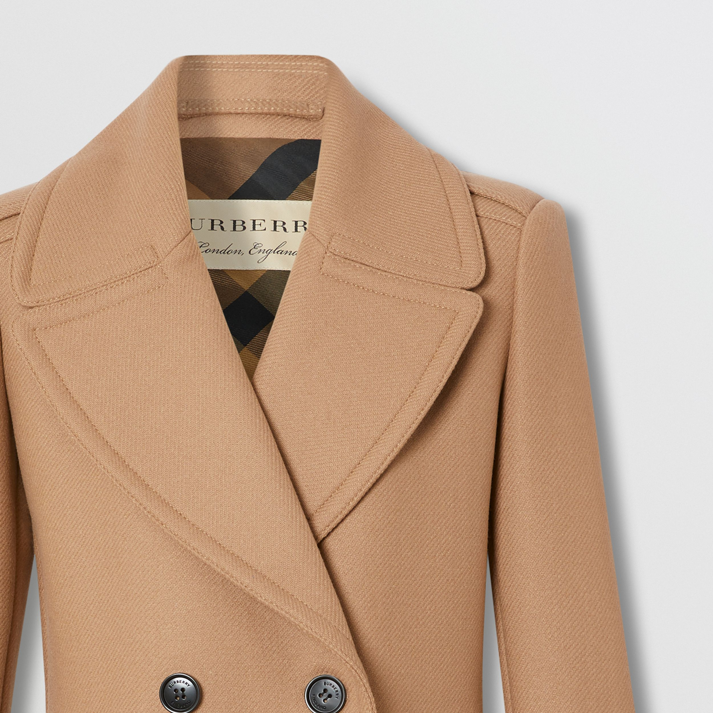 Wool Cashmere Blend Pea Coat in Camel - Women | Burberry - 2